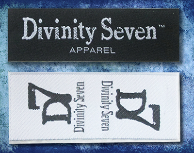 Woven Damask, centerfolded, end folded, custom woven labels