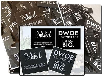 Woven Custom labels; hem labels, fashion