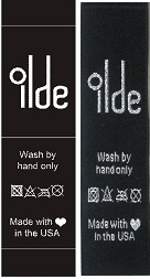 Metallic silver clothing labels